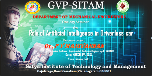 "a one day work shop on ""The role of artifical intelligence in driverless car"" @Mechanical Dept."
